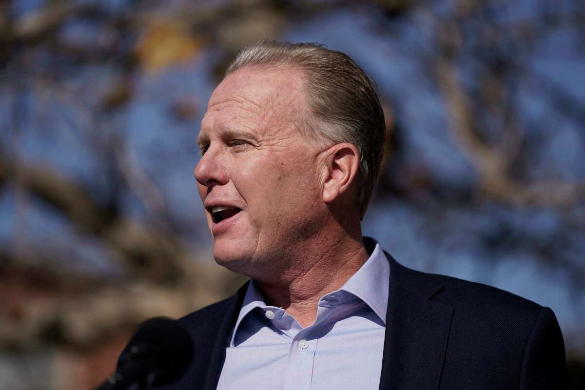 Former San Diego Mayor Kevin Faulconer speaks during a news conference in Tuesday, Feb. 2, 2021, in the San Pedro section of Los Angeles. Faulconer is running for California governor.