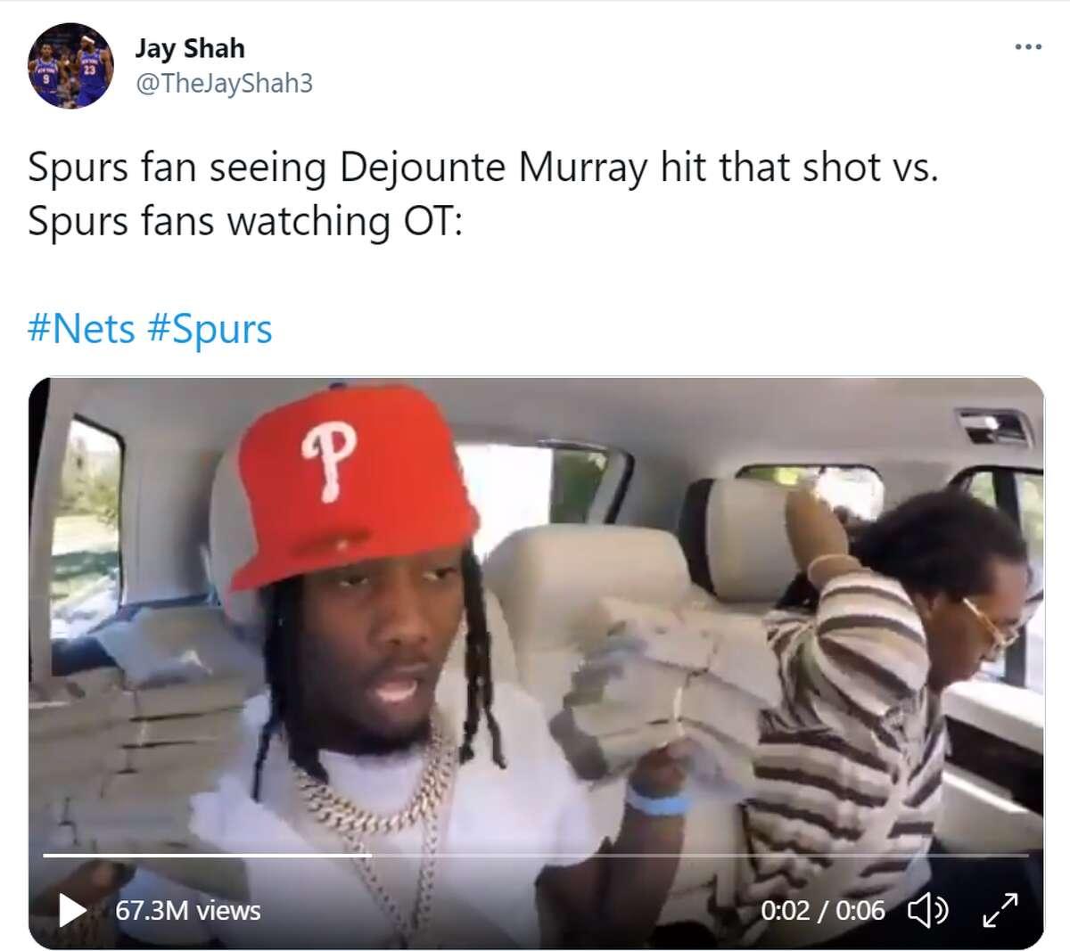 @TheJayyShah3: Spurs fan seeing Dejounte Murray hit that shot...