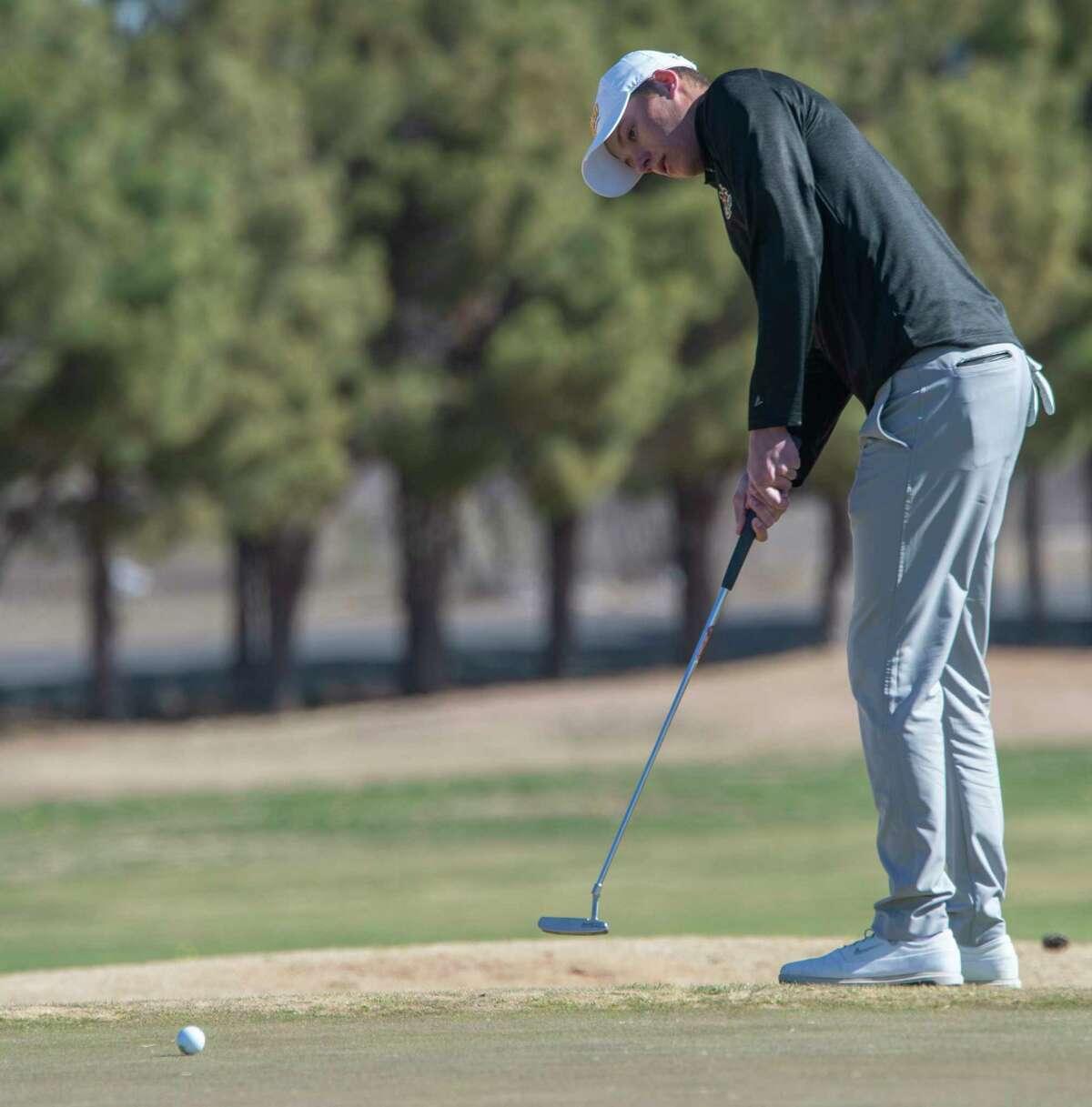 Midland College's Adam Coull follows his putt 03/02/2021 during the TankLogix Intercollegiate Golf Tournament at Ranchland Hills Golf Club. Tim Fischer/Reporter-Telegram