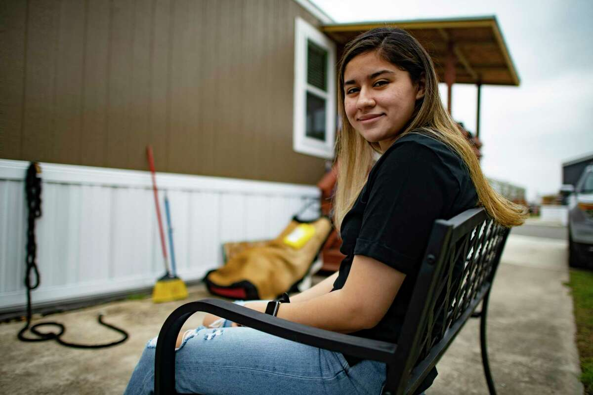 Miriam Perez, a DACA applicant who attends Texas A&M University-San Antonio, at home Wednesday.