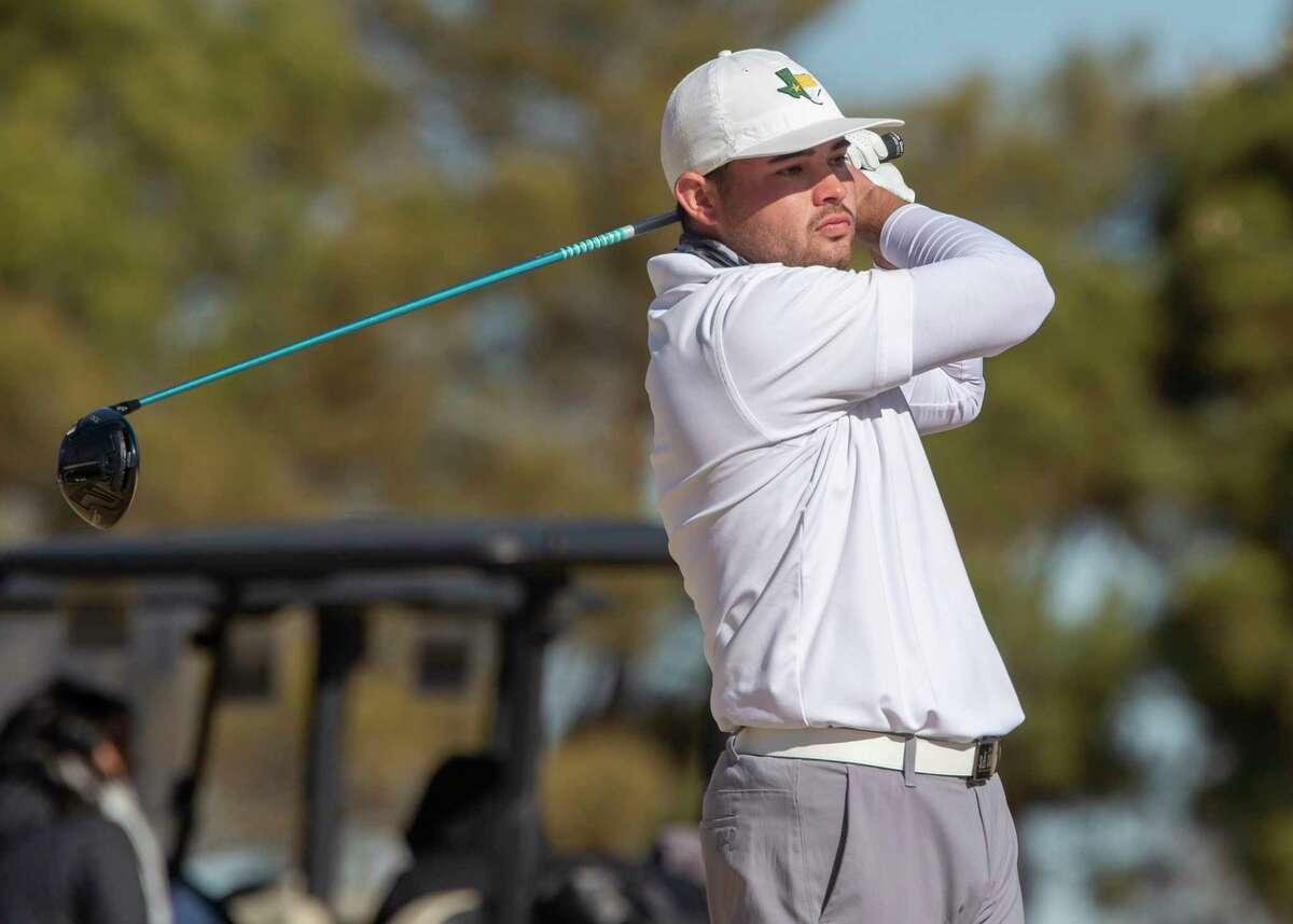 Midland College's JT Pittman follows his shot 03/02/2021 during the TankLogix Intercollegiate Golf Tournament at Ranchland Hills Golf Club. Tim Fischer/Reporter-Telegram