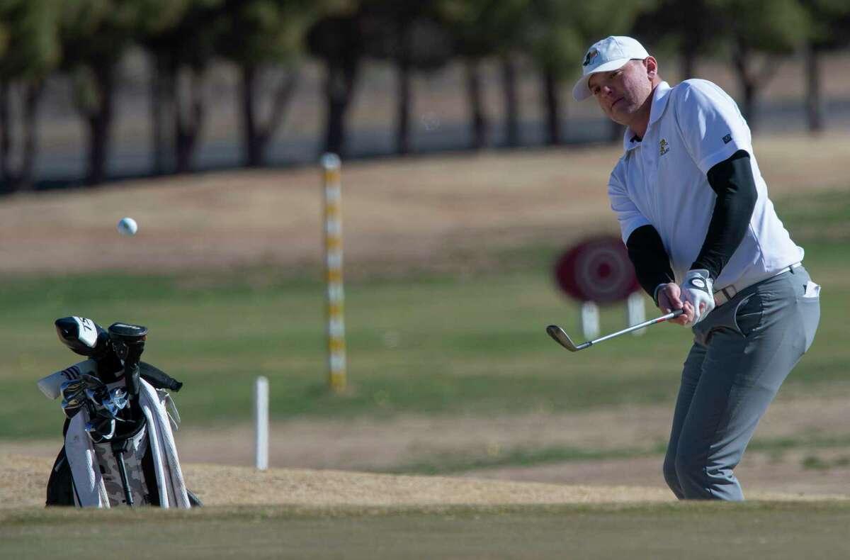 Midland College's Bladen Samaniego chips onto the green 03/02/2021 during the TankLogix Intercollegiate Golf Tournament at Ranchland Hills Golf Club. Tim Fischer/Reporter-Telegram