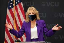 US First Lady Jill Biden speaks before a panel discussion on cancer research and care at the Massey Cancer Center at Virginia Commonwealth University in Richmond, Virginia on February 24, 2021. (Photo by Ryan M. Kelly / AFP) (Photo by RYAN M. KELLY/AFP via Getty Images)