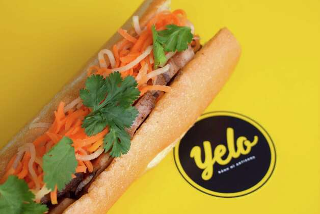 Lemongrass chicken banh mi at Yelo, a new craft banh mi shop in Katy from Phat Eatery owner Alex Au-Yeung with a menu from Cuc Lam. Photo: Sabrina Miskelly