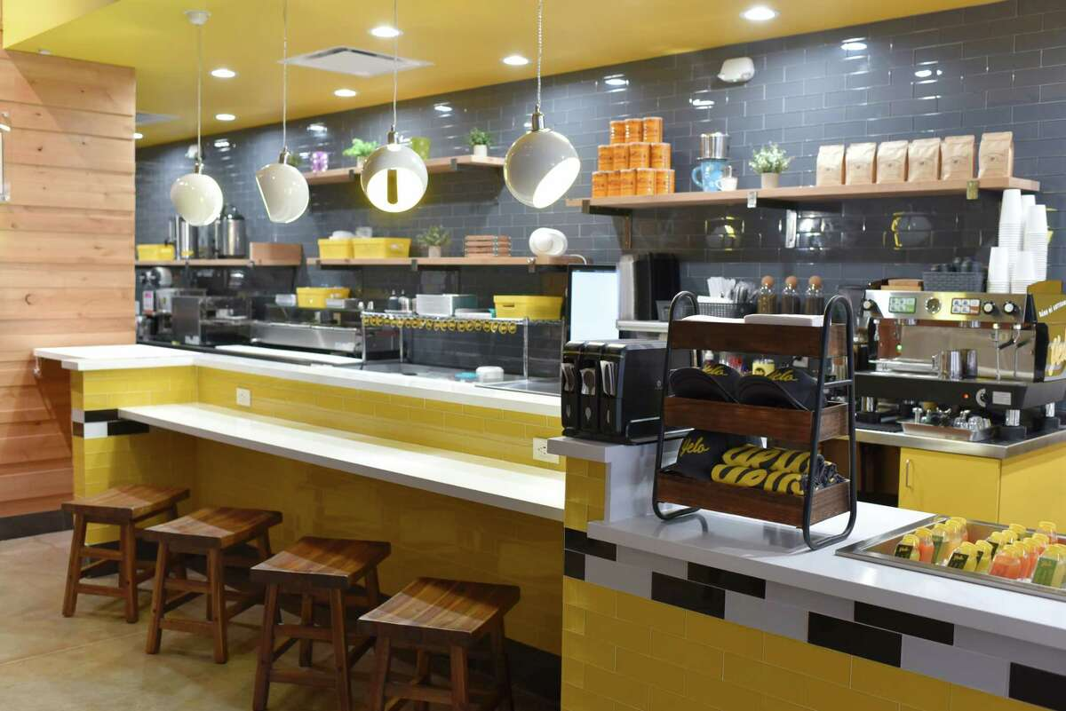 Interior of Yelo, a new craft banh mi shop in Katy from Phat Eatery owner Alex Au-Yeung with a menu from Cuc Lam.