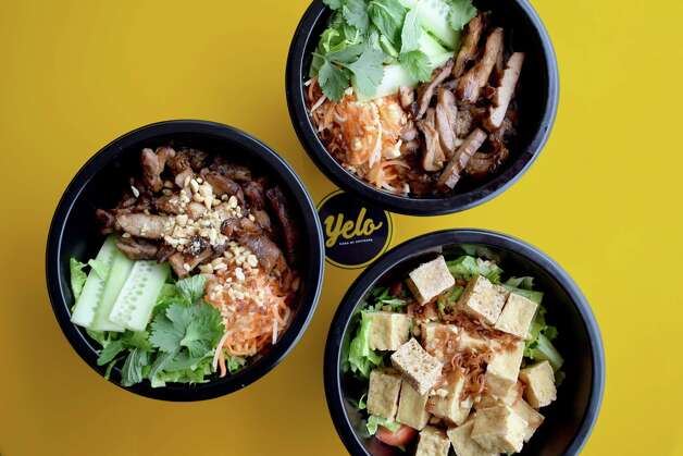 Rice and vermicelli bowls at Yelo, a new craft banh mi shop in Katy from Phat Eatery owner Alex Au-Yeung with a menu from Cuc Lam. Photo: Sabrina Miskelly