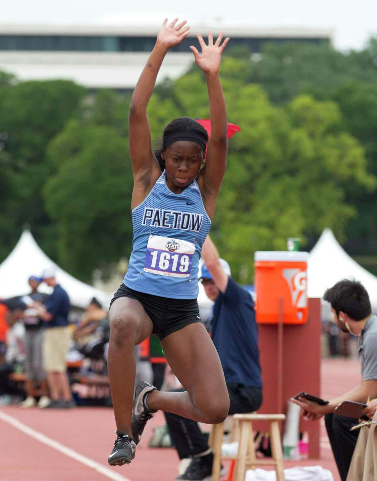 Tumi Onaleye of Katy Paetow competes in the 5A girls triple jump during the UIL State Track & Field Championships at Mike A. Myers Stadium, Friday, May, 10, 2019, in Austin.
