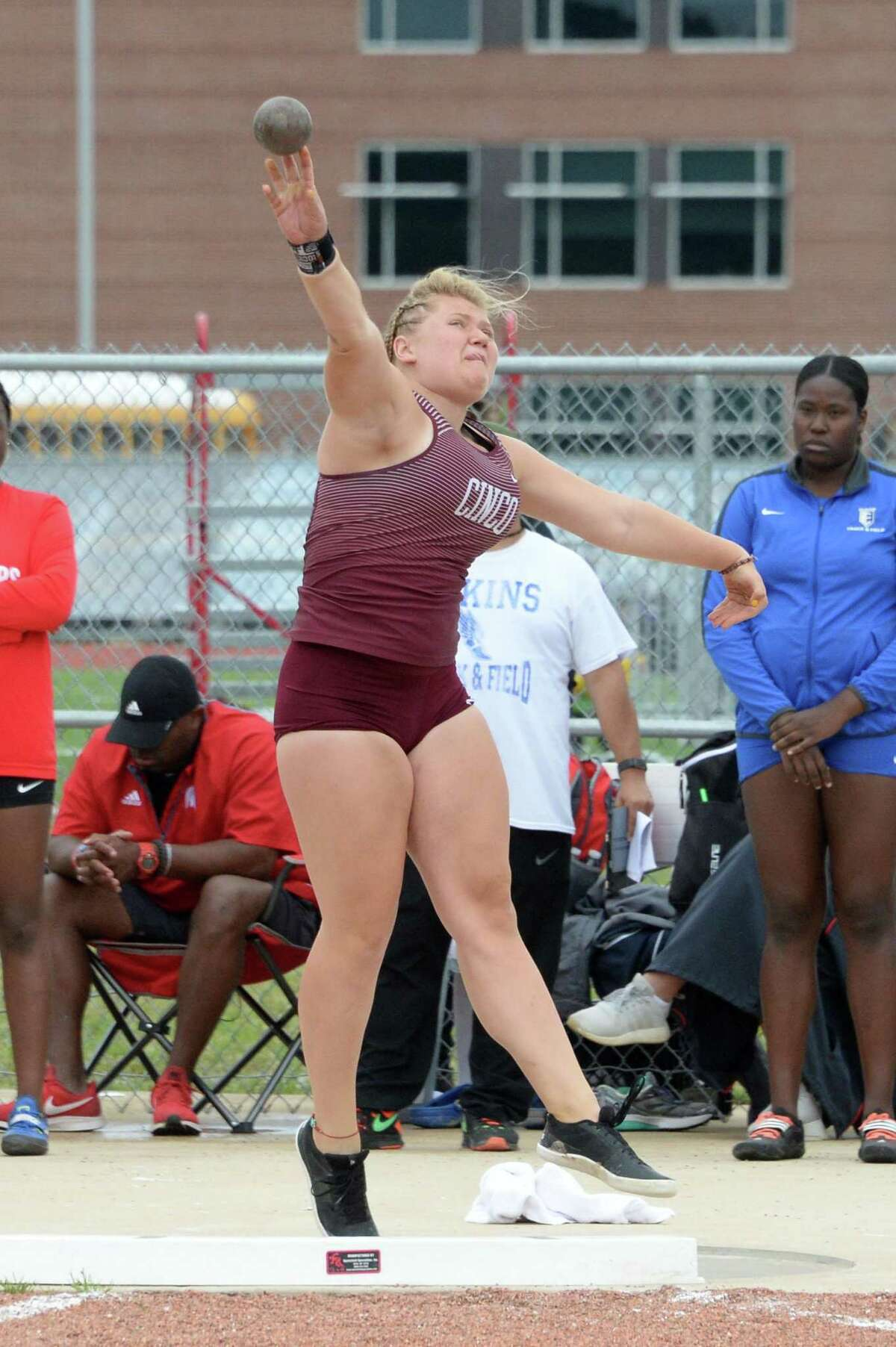 Amelia Flynt of Cinco Ranch competes in the shot put competition during the District 19/20, Region III - 6A Area Track & Field Meet on Thursday April 18, 2019 at the Paetow High School, Katy, TX.