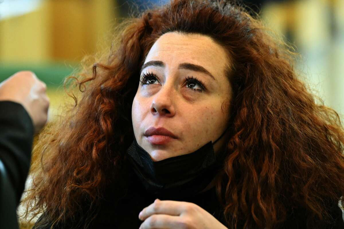 Rosa Maria Esilio, widow of slain Carabinieri military police officer Mario Cerciello Rega, looks on upon her arrival for a hearing in the trial of the two young US nationals who are accused of the killing in Rome, on March 1, 2021.