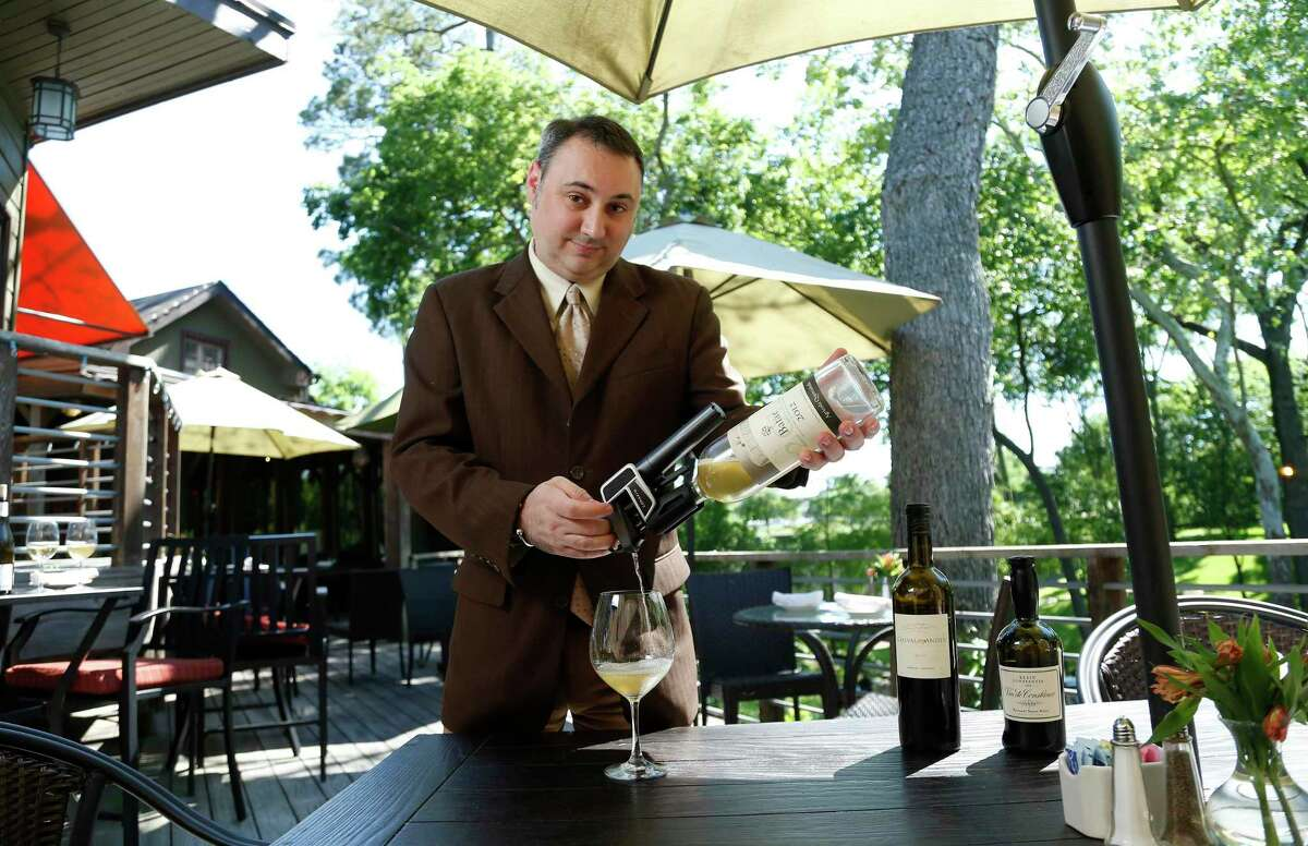 Marc Borel, sommelier at Rainbow Lodge, uses a Coravin with his wines of choice.