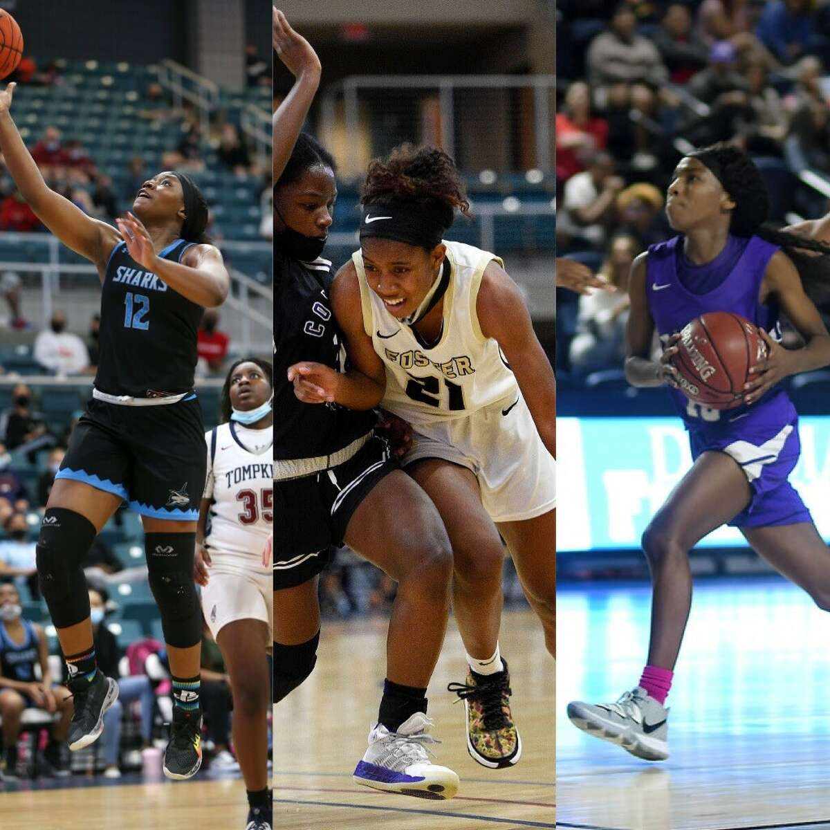 Shadow Creek's Bre'yon White (from left), Foster's Kaiya Wynn and Jersey Village's Gia Adams are among the finalists for the inaugural Coach Anthony Fields Award that goes to the greater Houston area's girls basketball player of the year.