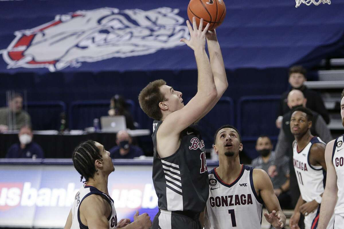 Santa Clara forward Josip Vrankic, center, was an All-WCC selection and leads the Broncos in scoring (15.3) and the conference in rebounding (8.7).