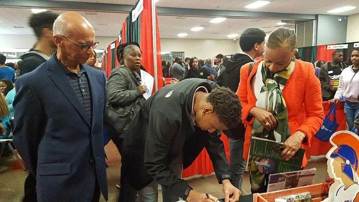 Houston will host one of the largest college fairs for historically black colleges and universities for recruiting this weekend, hosted by the Houston HBCU Alumni Association. Unlike in previous years, shown, the 2021 fair will be virtual.