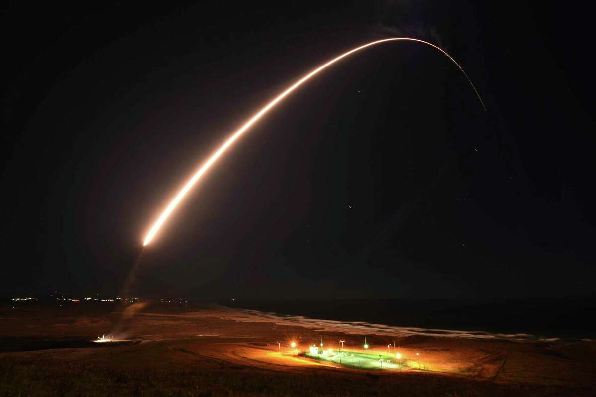 In this photo released by the U.S. Army Space and Missile Defense Command, an unarmed Minuteman 3 intercontinental ballistic missile launches during an operation test at Vandenberg Air Force Base, Calif., on Tuesday, Feb. 23, 2021. The missile was successfully launched from California in a test of the defense system, the U.S. Air Force said Wednesday.