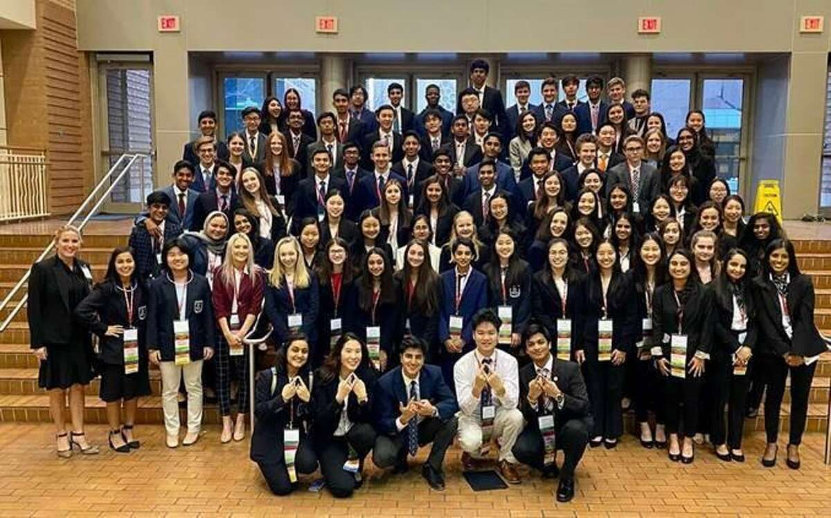 The Woodlands College Park DECA chapter has found success in a difficult year by moving its resources and meetings online, while still offering the same opportunities the club prioritizes, including volunteering and competing. Above, members of The Woodlands College Park DECA at state competitions in 2020.