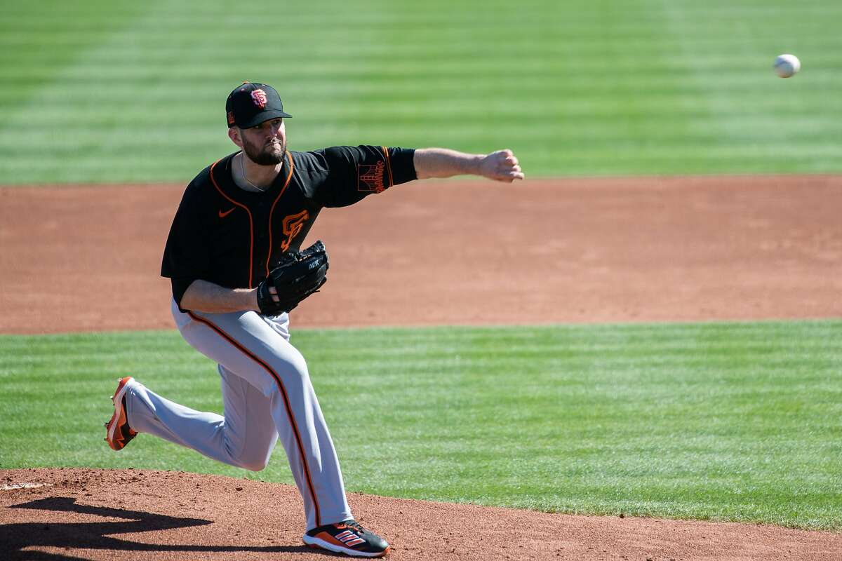 Alex Wood practices before opening day of Spring Training in the Cactus League at Scottsdale Stadium on Tuesday, Feb. 23, 2021, in Scottsdale, Ariz.