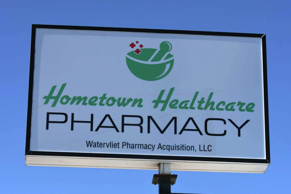 Sign outside the CDPHP Watervliet pharmacy on Tuesday, March 2, 2021, on 19th Street in Watervliet N.Y. CDPHP has purchases two pharmacies in hopes of filling the pharmacy gap Walgreens has left. (Will Waldron/Times Union)