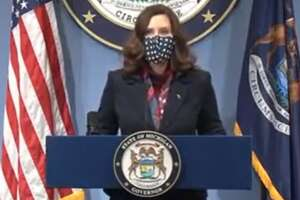 Gov. Gretchen Whitmer held a press conference Tuesday, March 2, to give a COVID-19 update. (Screen photo/State of Michigan)