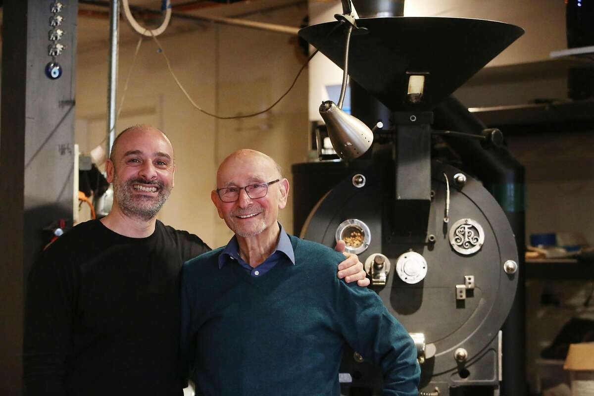 Hrag Kalebjian (l to r) and Henry Kalebjian, co-owners Henry's House of Coffee, stand for a portrait next to the coffee roaster at Henry's House of Coffee on Monday, March 1,, 2021 in San Francisco, Calif.