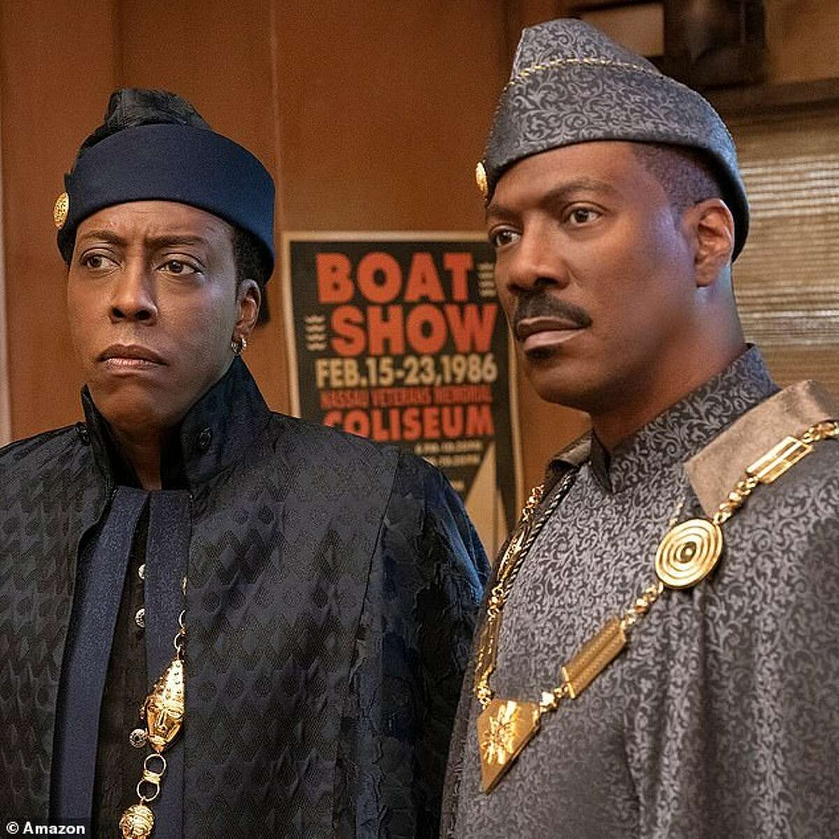 """Eddie Murphy, right, and Arsenio Hall reprise their roles as Prince/King Akeem and Semmi, respectively, in """"Coming 2 America."""""""