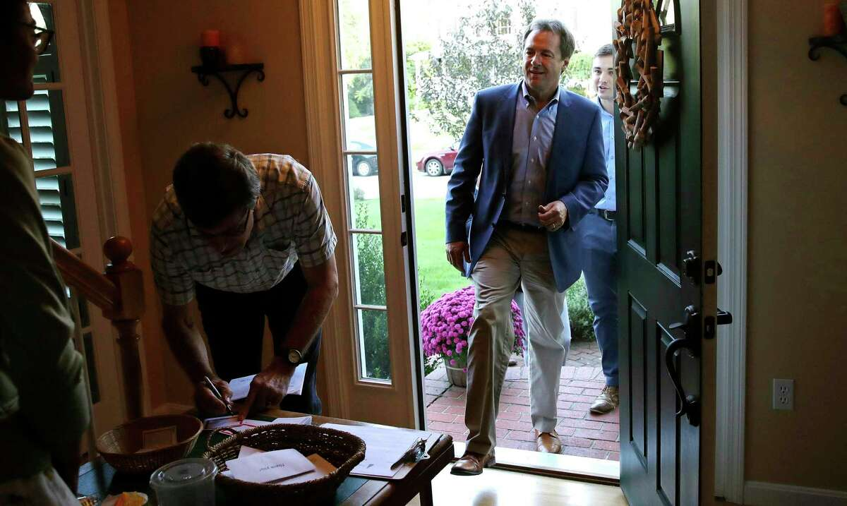 Montana Gov. Steve Bullock arrives for a house party supporting Democratic candidates in Hampton, N.H., Friday, Aug. 24, 2018. Bullock ended up running for president in 2019, but he dropped out of the race in December 2019. On March 2, 2021, he was named the monitor of OxyContin maker Purdue Pharma.