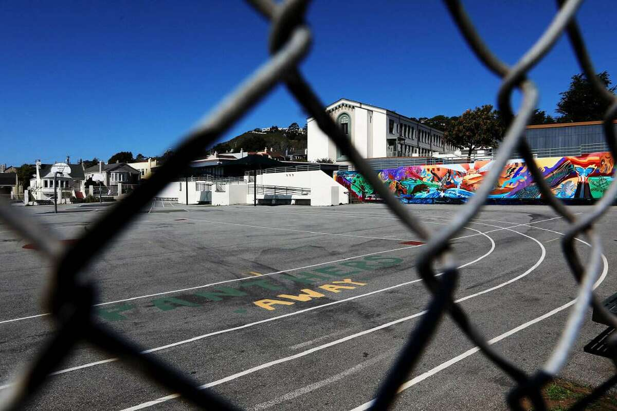 West Portal Schoolis quiet on Friday, January 26, 2021, in San Francisco, Calif. The school has been closed due to the coronavirus pandemic but maintains Zoom classes for students.