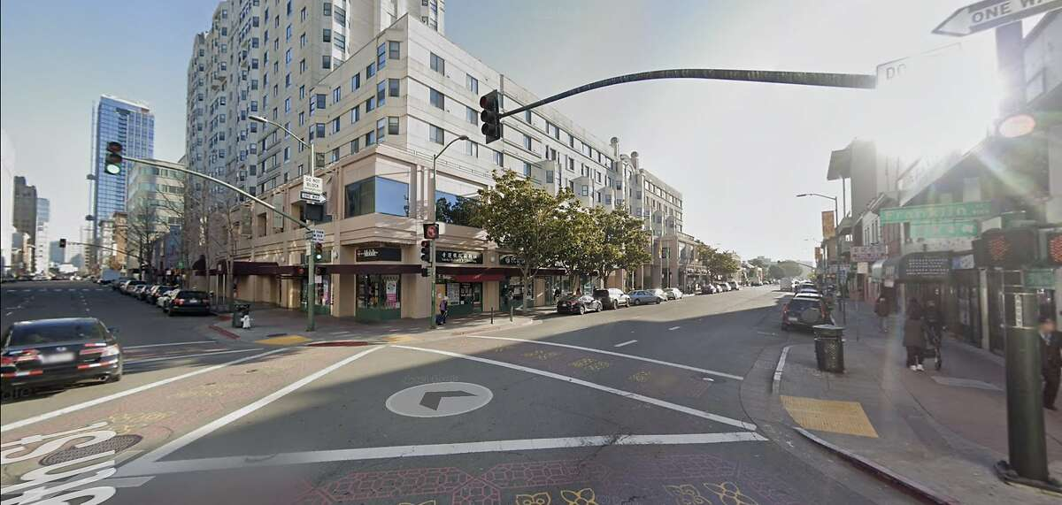 The intersection of 9th and Franklin streets in Oakland's Chinatown, where a shop owner was arrested after shooting at would-be thieves who assaulted a woman and tried stealing her camera. Prosecutors on Tuesday said they would not file charges against the shop owner.