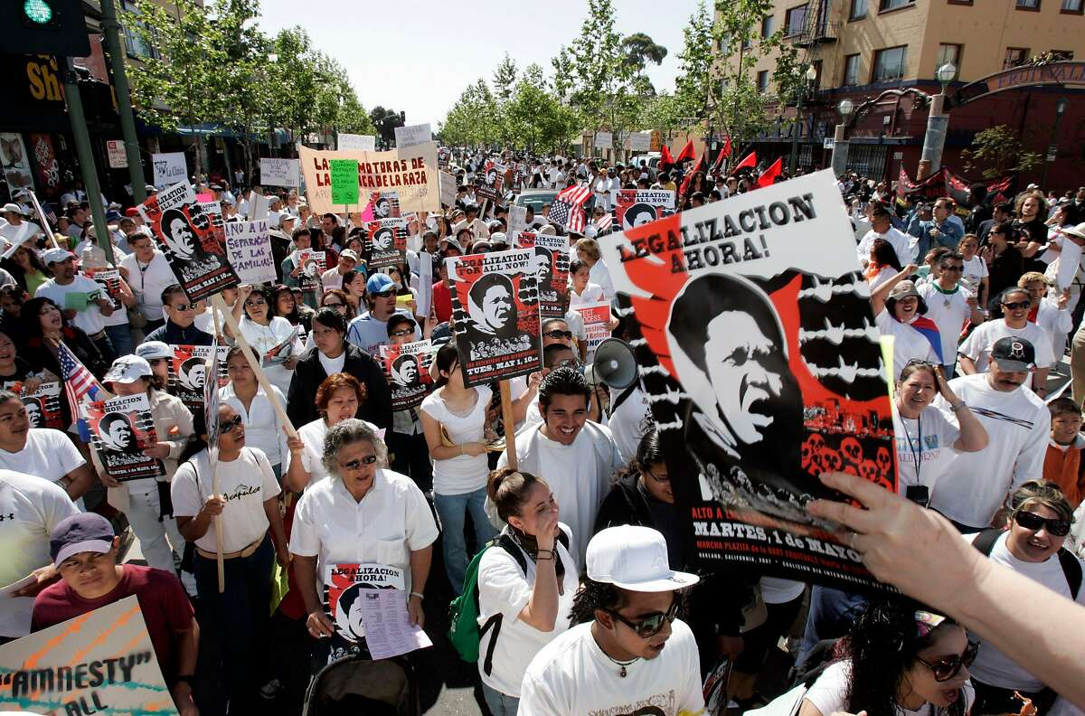 Demonstrators supporting immigrant rights gather in Oakland's Fruitvale neighborhood for a march toward downtown in May 2007.