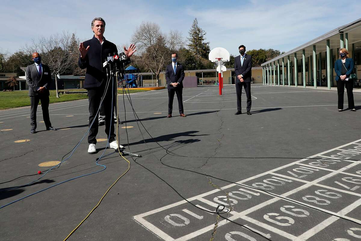 Gov. Gavin Newsom during a press conference at Barron Park Elementary School in Palo Alto. The visit came a day after Newsom announced a deal to provide $6.6 billion to schools.
