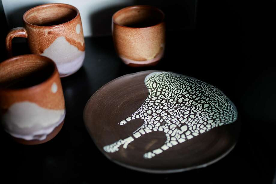 Ceramist Erin Hupp's finished pieces in her East Bay studio. Photo: Gabrielle Lurie / The Chronicle