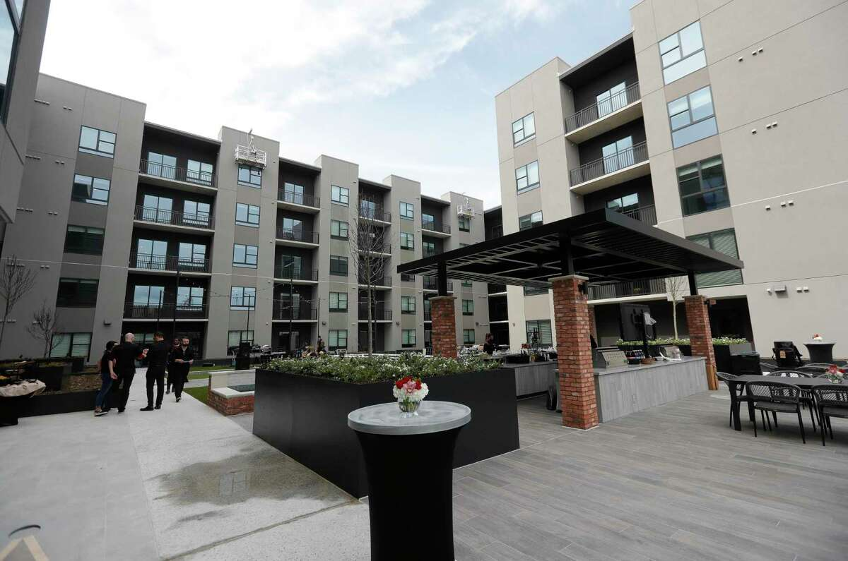 """The common area at The Lane at Waterway, a new luxury multifamily property, is seen in The Woodlands. The seven-story """"urban boutique multifamily community"""" is situated on a 1.67-acre site at the southeast intersection of 10100 Six Pines Drive and Timberloch Place in The Woodlands Town Center."""
