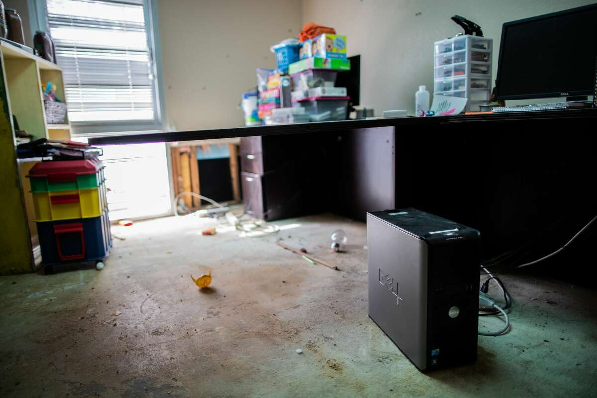The Bridge Over Troubled Waters administration offices, Tuesday, March 2, 2021, in Pasadena. The room was damaged by frozen burst pipes during the Winter Storm Uri.