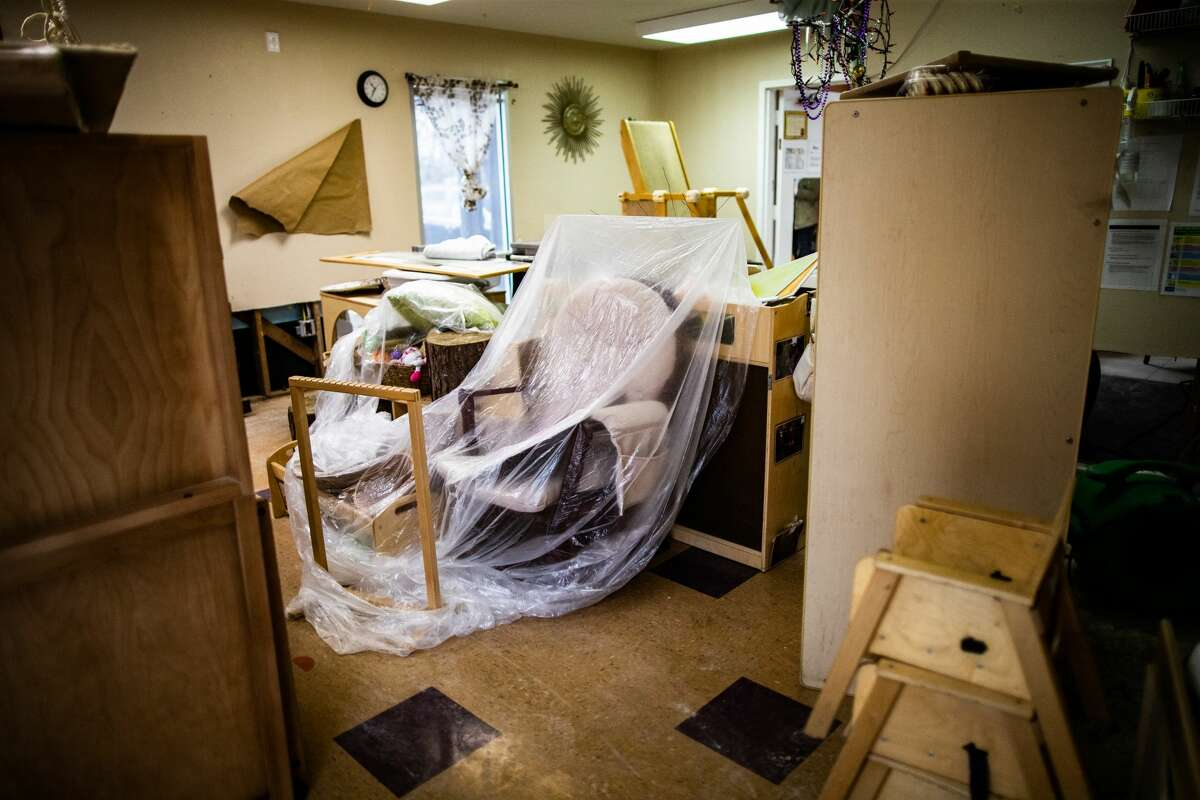 The Bridge Over Troubled Waters childcare room for children six weeks to one-year-old, Tuesday, March 2, 2021, in Pasadena. The room was damaged by frozen burst pipes during the Winter Storm Uri.