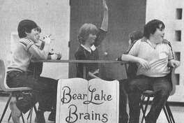 """The """"Bear Lake Brains"""" took their second Book Bowl championship yesterday at the second annual Manistee County Book Bowl. Held in Bear Lake, the competition consisted of 16 fifth grade teams from county public private schools who answered 14 books that each team member had read. The Brains, coached by Ken Rakoczy, included the captain Amy Zenker, Darren LaPointe, Holly Gamble, Pat Ware and Ron Nelson. The photo was published in News Advocate onMarch 5, 1981. (Manistee County Historical Museum photo)"""