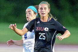 Ashlin West of SIUE assisted teammate Kayla Klipsch on the game-winning goal in the Cougars' 3-2 victory at Eastern Kentucky University Tuesday in Louisville. It was the season opener for both teams. West is a junior from Edwardsville High school.