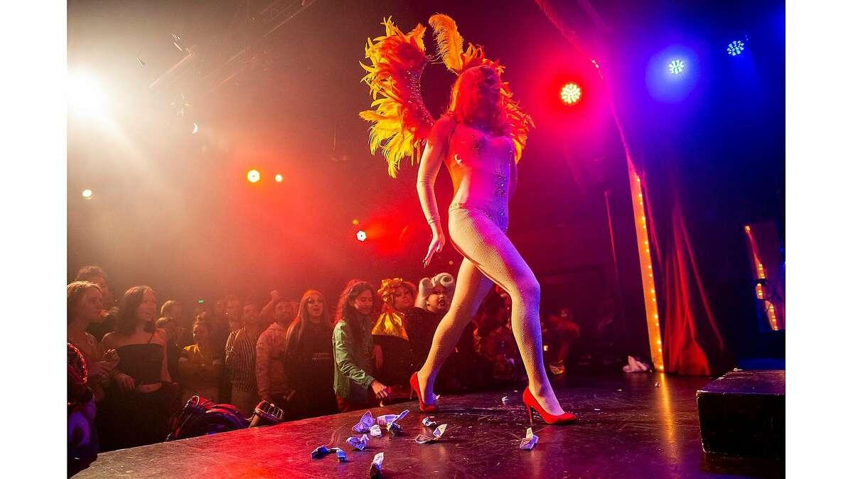 "Marsha Marsha-Marsha performs in ""Mother: Britney vs Christina,"" a drag show at Oasis, Sunday, Feb. 2, 2020, in San Francisco, Calif."