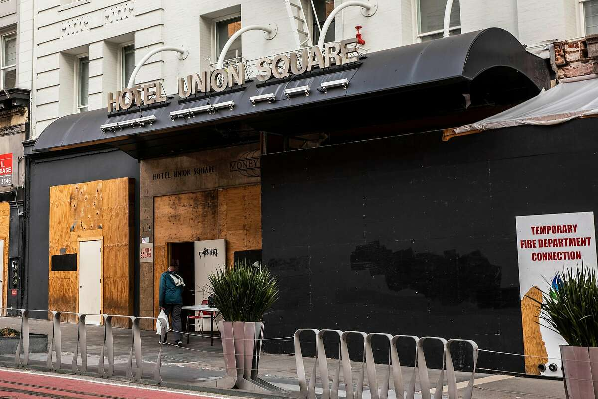 Hotel Union Square has been temporarily contracted as one of San Francisco's shelter-in-place hotels to house at-risk homeless people.