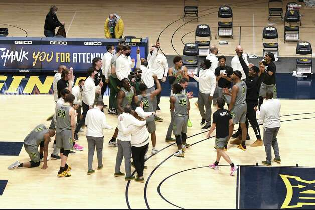 MORGANTOWN, WV - MARCH 02:  The Baylor Bears celebrates a overtime win after a college basketball game against the West Virginia Mountaineers at WVU Coliseum  on March 2, 2021 in Morgantown, West Virginia. Photo: Mitchell Layton, Getty Images / 2021 Getty Images