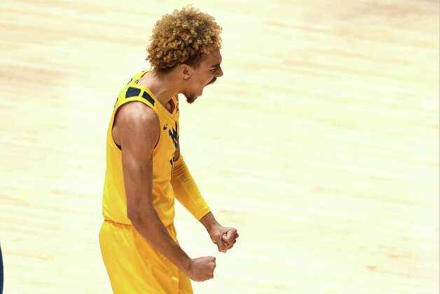 MORGANTOWN, WV - MARCH 02:  Jalen Bridges #2 of the West Virginia Mountaineers celebrates a basket in the second half during a college basketball game against the Baylor Bears at WVU Coliseum  on March 2, 2021 in Morgantown, West Virginia. Photo: Mitchell Layton, Getty Images / 2021 Getty Images