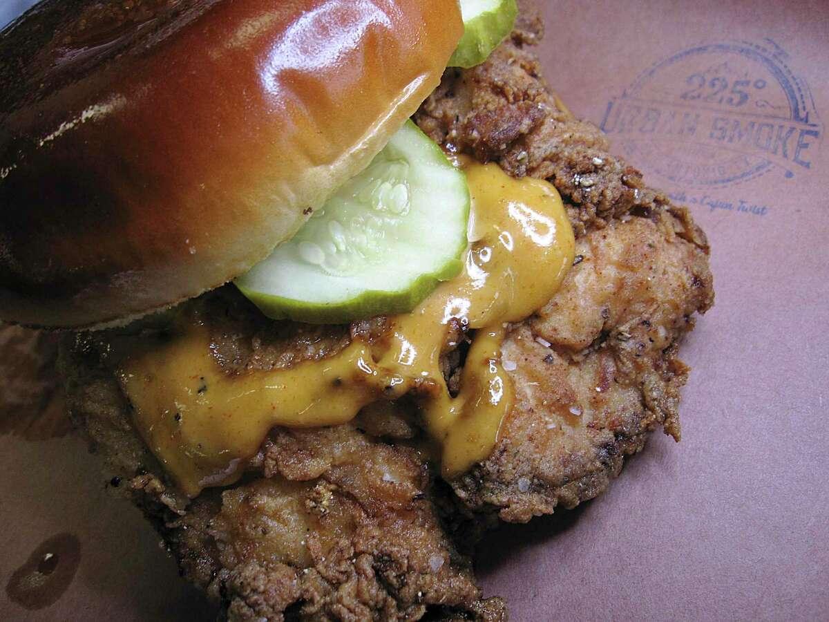 The Flying Bird fried chicken sandwich at 225° Urban Smoke