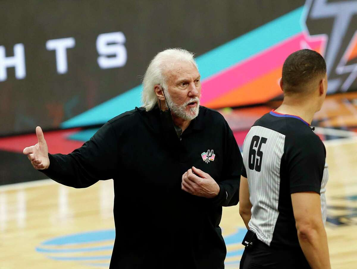 SAN ANTONIO, TX - MARCH 1: Head coach Gregg Popovich of the San Antonio Spurs questions a call during the game against the Brooklyn Nets in the first half at AT&T Center on March 1, 2021 in San Antonio, Texas. NOTE TO USER: User expressly acknowledges and agrees that , by downloading and or using this photograph, User is consenting to the terms and conditions of the Getty Images License Agreement. (Photo by Ronald Cortes/Getty Images)