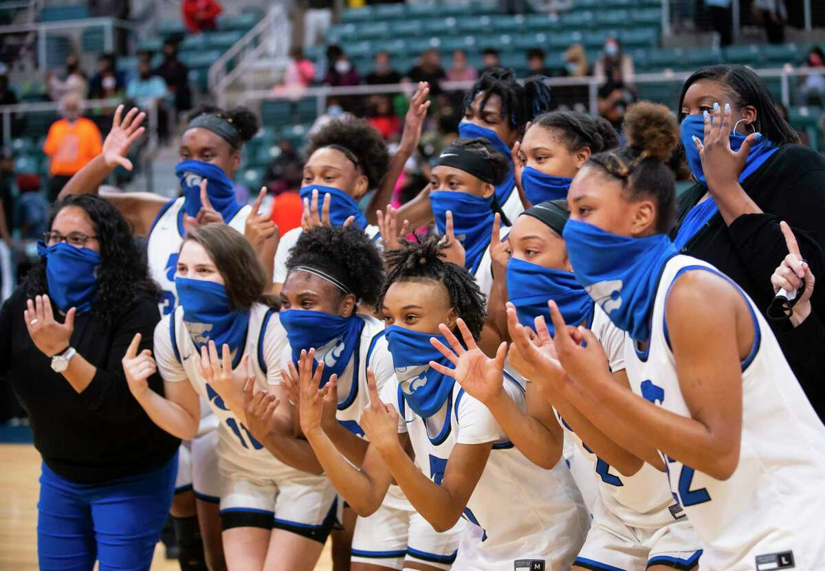 Cypress Creek celebrates their win following the second half of a game between Cypress Creek and Shadow Creek for the Class 6A Region III championship, Tuesday, March 2, 2021, at the Merrell Center in Katy. Cypress Creek won the game and will advance to the state tournament.