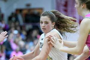 Trumbull High's Cassi Barbato against St. Joseph in the first game of the Playing for a Cure doubleheader at Fairfield University's Alumni Hall, Friday, Feb. 7, 2020.