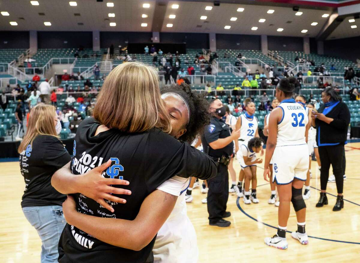 Cypress Creek guard Rori Harmon (3) celebrates with her teammates after their win against Shadow Creek for the Class 6A Region III championship, Tuesday, March 2, 2021, at the Merrell Center in Katy. Cypress Creek won the game and will advance to the state tournament.