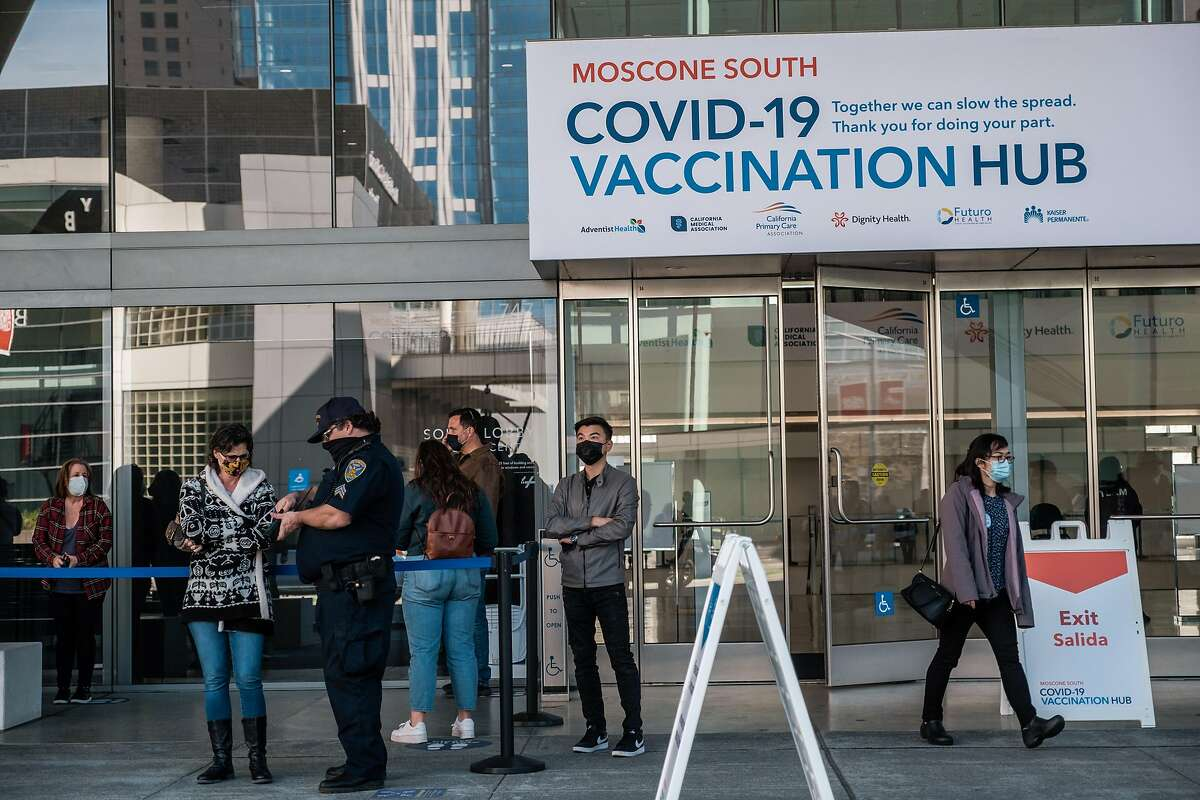 State officials omitted San Francisco teachers from the first round of vaccine vouchers because the city's high-volume vaccination site, the Moscone Center, was already fully booked for vaccination appointments.