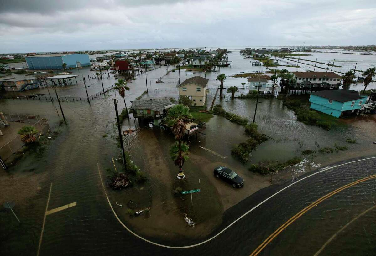 Some roads remain flooded in Surfside Beach after Tropical Storm Beta made landfall overnight, on Tuesday, Sept. 22, 2020.