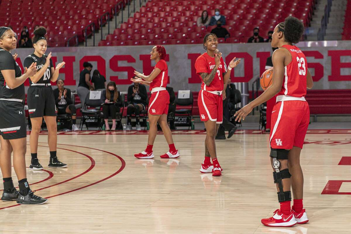 Julia Blackshell-Fair (with ball) made an appearance in Tuesday's Senior Night for UH nearly six weeks after suffering a season-ending injury.