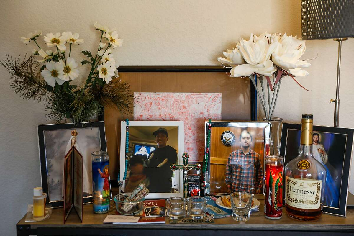 An altar to honor Angelo Quinto is seen in his mothers home on Wednesday, Feb. 17, 2021 in Antioch, California. Angelo Quinto died in Antioch police custody in December and the police did not alert the public about the in-custody death. The family says that the officers placed their knees on his neck for over four minutes until he died.