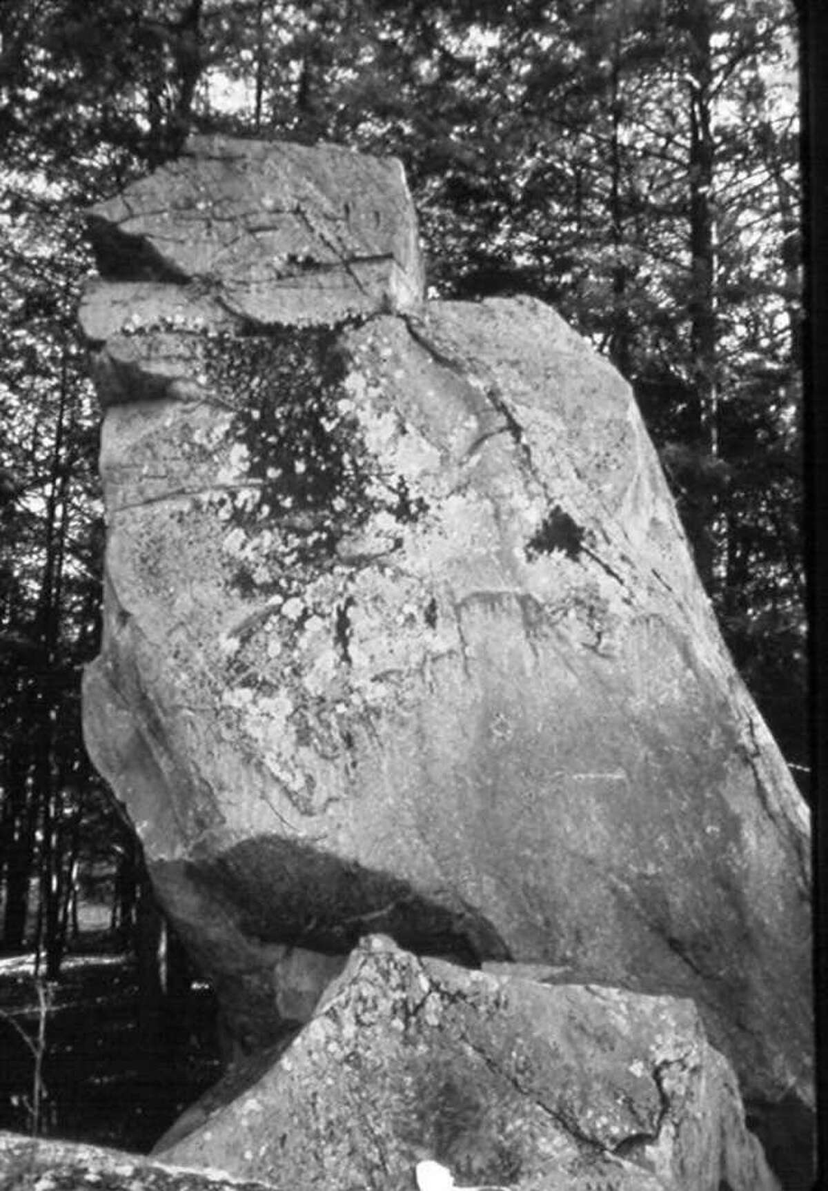 Hawk Rock, a 25-foot-tall carved boulder, is located in Putnam County, NY.