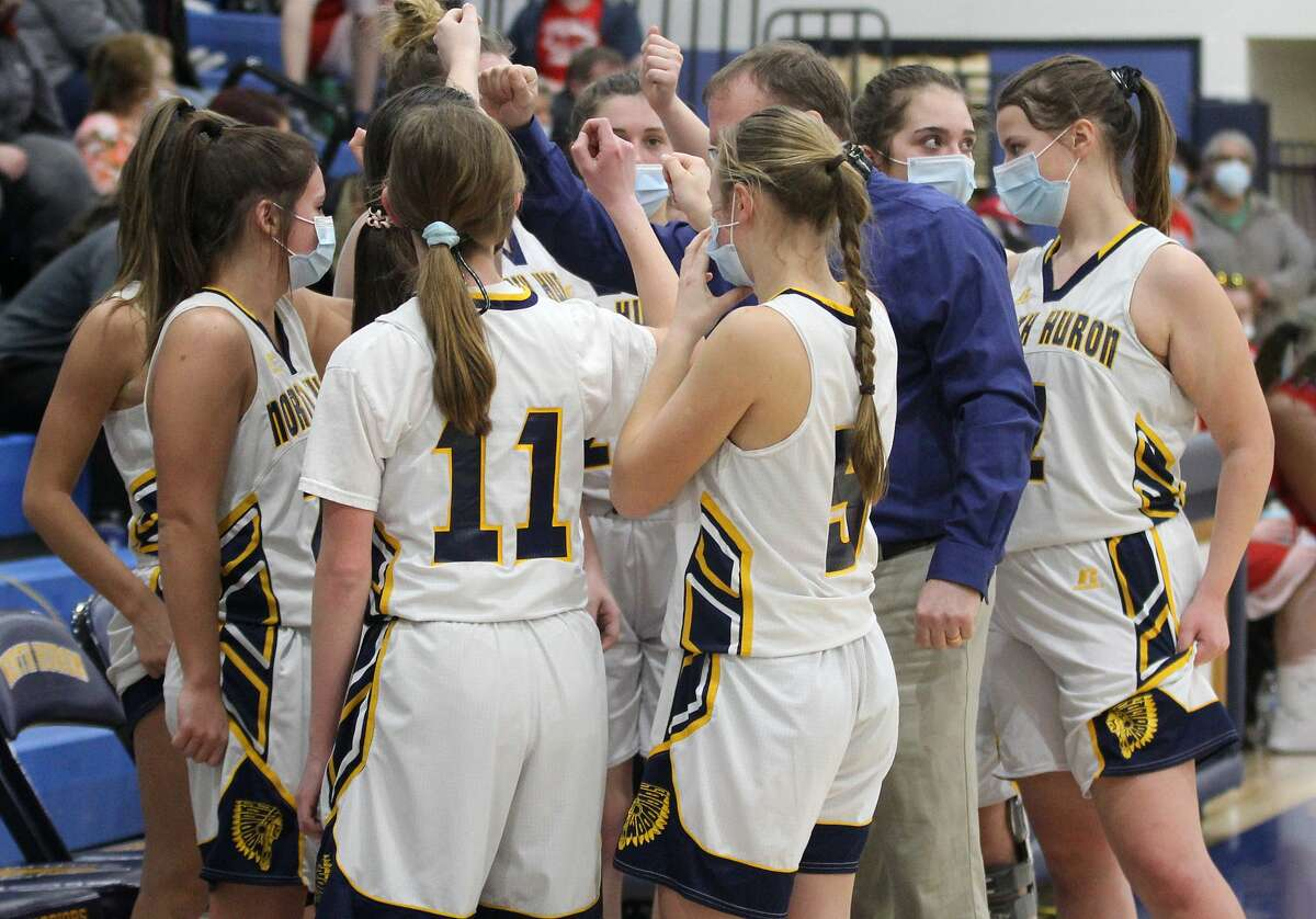 The North Huron girls varsity basketball team was forced to withdraw from the MHSAA postseason tournament, thus losing their chance to play for a district championship on Friday evening, due to reasons related to COVID-19. Friday morning's news means that Ubly is the 2020-2021 district champion.